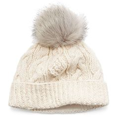 Women's Sijjl Faux-Fur Cable-Knit Beanie (1,995 INR) ❤ liked on Polyvore featuring accessories, hats, beanies, multicolor, beanie hat, pom pom hat, cable hat, cable knit beanie hat and pom pom beanie hat