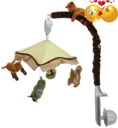 #manythings The #Enchanted #Forest musical mobile features four plush animals suspended from a fabric canopy. An owl, beaver, deer and chipmunk are the four adora...