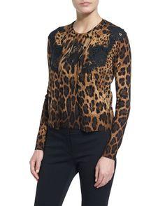 DOLCE & GABBANA Lace-Inset Animal-Print Cardigan, Black/Natural. #dolcegabbana #cloth #