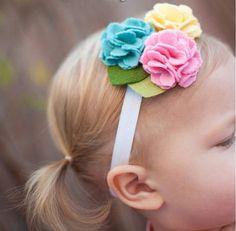 Headband Single / Triplo feltro headband da flor para bebê recém-nascido pequeno da criança infantil Girl, Headband Dainty, bonito Headband, Fotografia Prop