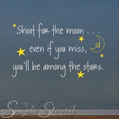 An inspirational vinyl wall lettering decal for your home or school walls. Includes vinyl moon and stars graphic decals #shootforthemoon #tothemoon #moonandback #inspirationalquotes #moonquotes #stars #starquotes #inspirationalart #kidsroom #teenroomideas #homedecor #kidsroom #teenroom #childsroom #kidsroomdecor #walldecals #wallquotes #wallstickers #removabledecals #removablewallart #wallart #wallstencils #TheSimpleStencil