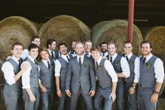 We love the idea of the groom in a jacket and the groomsmen just in vests