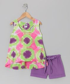 Take a look at this Green & Purple Debi Tie-Dye Tank & Shorts - Toddler & Girls by Out of Control on #zulily today!