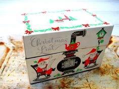 Vintage Christmas list recipe box red green black by southcentric, $16.35