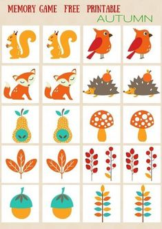 Test your children preschoolers memory with this familiar card game. Simply print, cut, and lay all cards face down, then find the matching pairs. Autumn Activities, Toddler Activities, Preschool Activities, Memory Games For Kids, Games For Toddlers, Fall Preschool, Preschool Crafts, Fun Worksheets For Kids, Rainbow Crafts