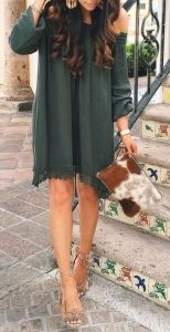 #summer #fashion / green long-sleeve dress
