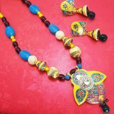Meenakari Half Leaf Pendant Set Yellow Blues