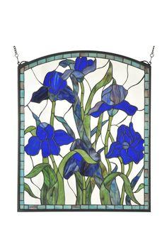 "24""W X 28.75""H Iris Arched Stained Glass Window"