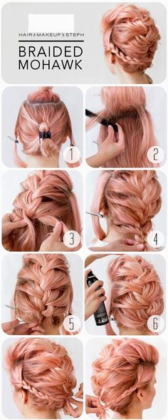 Braided Mohawk - This is a hairstyle that works on not only long hair but medium length and shorter hair too. Love her pink hair!