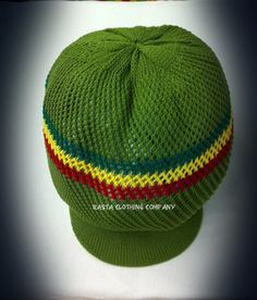 Knitted Mesh Large Peak Hat - Olive, Red, Green & Gold - Rasta Clothing Company