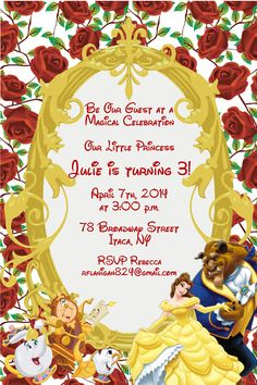 Girls Beauty and the Beast Princess Printable Birthday Party