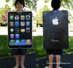 DIY iphone costume- maybe out of battery or a cracked screen