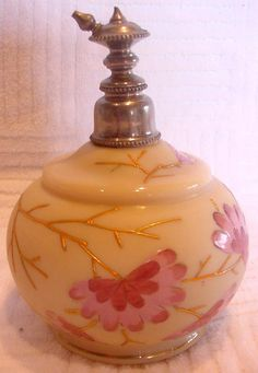 English Ivory Pale Brown Glass Perfume Atomizer Silver Top  Enameled Flowers c 1895
