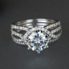 Jewellery Jewellery Organizer inside Halo Engagement Ring No Diamonds On Band by Jewelry Box Jonathan Adler Halo Diamond Engagement Ring, Vintage Engagement Rings, Forever One Moissanite, Diamond Sizes, Conflict Free Diamonds, Round Diamonds, White Gold, Wedding Rings, Jewellery Maker