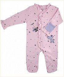 Enchanted Forest organic footed playsuit with embroidered deer & flower. So sweet.