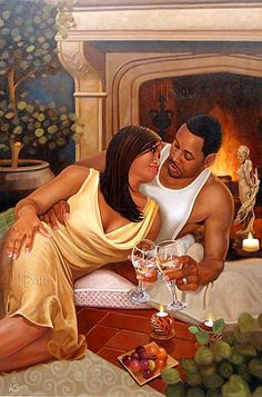 To Us II by Henry Lee Battle is an African-American work of art of a couple embracing one another by a fireplace. The woman dressed in a white nightgown clinks glasses with the man looking into her eyes. Black Couple Art, Black Love Couples, Black Love Art, Black Girl Art, Black Is Beautiful, Hot Couples, Black Art Painting, Black Artwork, Black Art Pictures