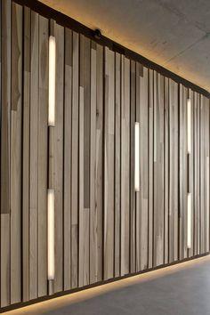 Creative wall design wood paneling interior decoration ideas lighting Source by freshideen Wood Panel Walls, Wooden Walls, Wood Paneling, Panelling, Paneling Ideas, Outdoor Paneling, Wooden Wall Design, Wooden Wall Panels, Wood Slats