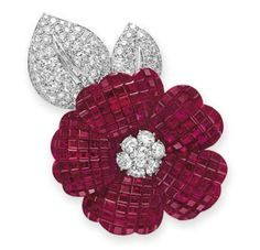 A Mystery Set Ruby and Diamond Brooch by Van Cleef & Arpels