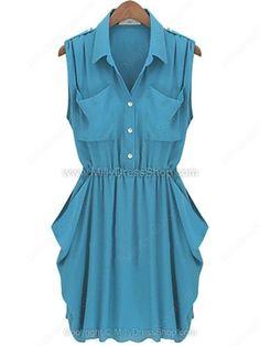 Lake Blue Sleeveless Twins Pockets Draped Side Chiffon Dress