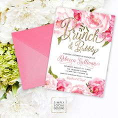 Brunch and Bubbly Bridal Shower Invitation - Pink Peony Ranunculus and Faux Gold Foil Watercolor Floral Boho Shower Invitation Printable