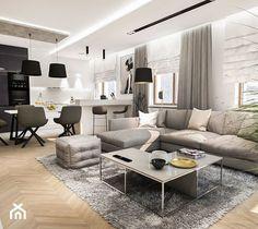 Projekt mieszkania W Warszawie 80 m2 - Duży salon z kuchnią z jadalnią, styl nowoczesny - zdjęcie od BIBI - homebook Couch, Furniture, Home Decor, Ideas, Living Room, Settee, Decoration Home, Sofa, Room Decor