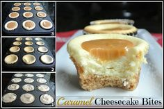 Cheesecake bites now this is looking very yummy yummy. Now really like the cheesecake too m Caramel Cheesecake Bites, Cheesecake Vanille, Salted Caramel Desserts, Low Carb Cheesecake, Cheesecake Recipes, Caramel Apples, Dessert Recipes, Cheescake Bites, Cheesecake Cupcakes