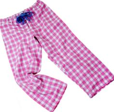 Pale pink and blue brushed cotton pyjama bottoms at The Pyjama House