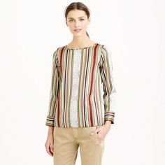 """We took one of the oldest forms of textile printing (ikat) and introduced it to one of our favorite decorations (stripes) and a refined silk-wool twill. The result? A structured top that's both sophisticated and lively. <ul><li>Body length: 25 1/4"""".</li><li>Silk/wool.</li><li>Exposed back zip.</li><li>Dry clean.</li><li>Import.</li></ul>"""