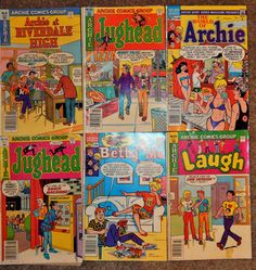 ARCHIE Comics Vintage Lot of 6 Archie At Riverdale, World of Archie, Betty And Me, Jughead, Laugh, Great Nostalgic Comic of 1980s World