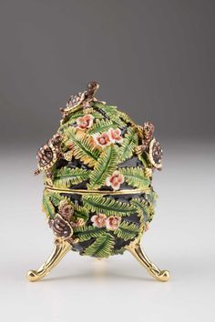Green Faberge Egg with turtles Handmade Trinket Box Decorated with Swarovski Crystals