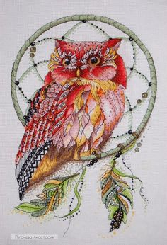 "/""Sleeping Owl/"" Counted Cross Stitch Kit OVEN 729"