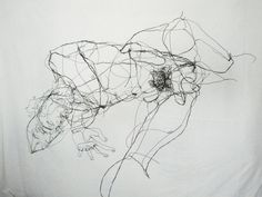 It is a bit like Egon Schiele, but then 3D. David Miguel Oliveira sketches with steel wire. Love it!