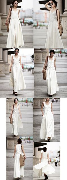 Long Maxi Dress Summer Dress in White