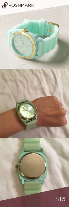⚡️SALE⚡️Mint watch from Anthropologie Adorable mint watch from Anthro-- not working so will need a battery.  Tiny crack on back seen in third photo.  Classy gold details. Anthropologie Jewelry