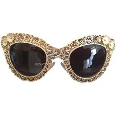 Pre-owned Sunglasses (€399) ❤ liked on Polyvore featuring accessories, eyewear, sunglasses, glasses, óculos, gold, gold glasses, dolce gabbana sunglasses, dolce gabbana eyewear and gold sunglasses