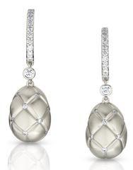 Fabergé Treillage Diamond White Gold Matt Drop Earrings.