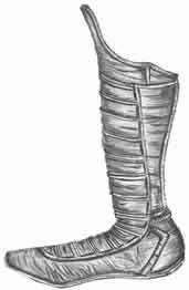''Unos 1.100 años a.C. los asirios   usaron unas botas de cuero hasta media pantorrilla, sujetas con cordones y con suela provista de un refuerzo metálico, disponían de botas militares con los pies izquierdo y derecho diferenciado,Estos progresaron y tanto griegos como romanos sólo se equipaban con botas gruesas para largas travesías a pie. En tiempo frío, estas botas solían estar forradas con pelo y adornadas en su parte superior con la cola o zarpa colgante de algún animal.''