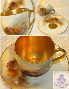 Rare Royal Worcester Cup & Saucer Highland Cattle Hand Painted Harry Stinton 1926