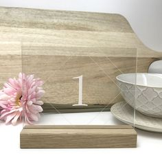 Clear Geometric Table Number - Acrylic with Timber Base - Wedding Table Decoration - Cafe Restaurant Wooden Numbers, Acrylic Table, Wedding Decorations, Table Decorations, Santa Gifts, Acrylic Material, Wedding Table Numbers, Wishing Well, Cafe Restaurant