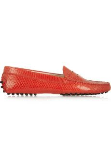 Tod's Glossed-python loafers   NET-A-PORTER
