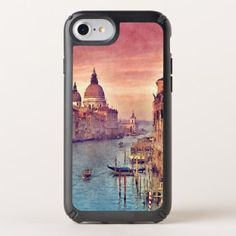 Chic Vintage Italy Venice Canal Pastel Watercolor Speck iPhone Case - antique gifts stylish cool diy custom