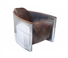 Timothy Oulton Aviator Tomcat Lounge Sessel  Designer Armchair in hochwertigem Leder + Metall