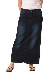 Dark Indigo Denim Flared Style Maxi Jean Skirt. Medium weight ...