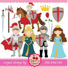 Little Knight and Princess digital clipart set for-Personal and Commercial Use on Etsy, $4.50