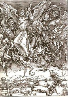 Acheter Tableau 'r. `michael` et le dragon, à partir d'un latin édition' de Albrecht Durer - Achat d'une reproduction sur toile peinte à la main , Reproduction peinture, copie de tableau, reproduction d'oeuvres d'art sur toile