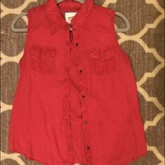 On trend red button snap vest size medium This has got to be the cutest thing I've ever seen from the JC Penny Arizona line. I wish pictures showed the detail of the almost acid wash look and the soft fabric. It is one item I don't mind keeping for sure! #arizona #buttonsnap #buttonsnapvest #redvest #summervest #fourthofjulytop Arizona Jean Company Tops