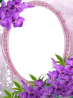 Pink Transparent Frame with Purple Flowers