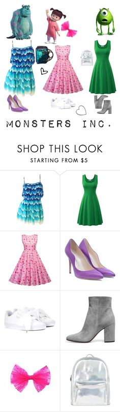 """""""Mike and Sully to the rescue!"""" by mintmila ❤ liked on Polyvore featuring INC International Concepts, Brian Atwood, Puma, Concord, Accessorize and Betsey Johnson"""