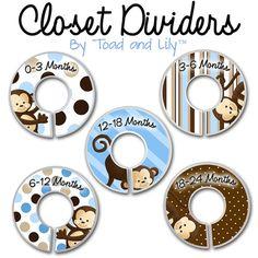 CLOSET DIVIDERS Blue Pop Monkey Kids Bedroom Baby Nursery Art Decor on Etsy, $12.00