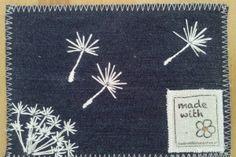 Stoffkarten mit Pusteblumen, Löwenzahn/ postcard with embroidered dandelion
